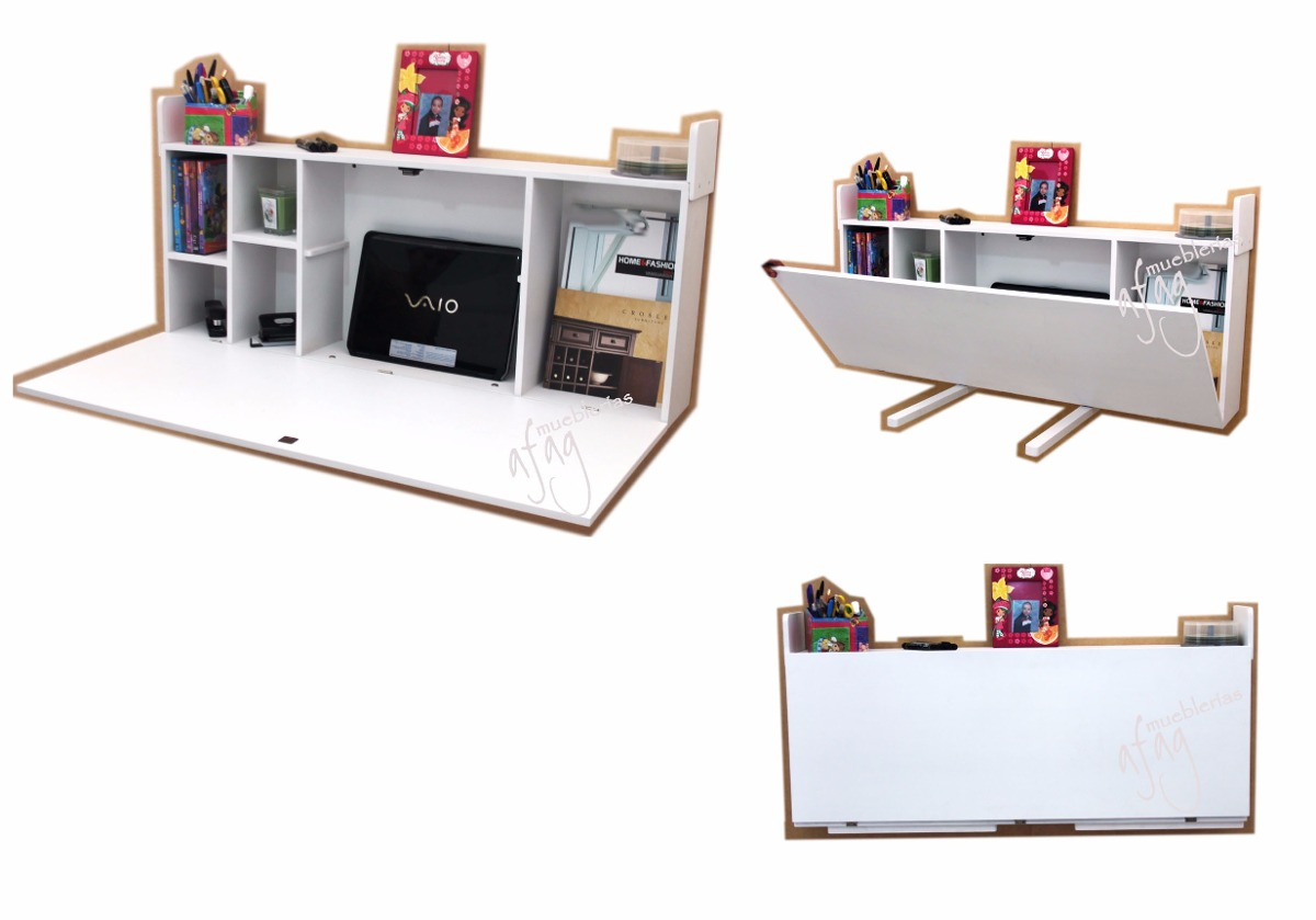Escritorio blanco plegable repisa librero mesa abatible - Escritorio abatible pared ...