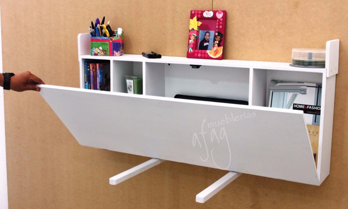 Escritorio blanco plegable repisa librero mesa abatible - Mesas escritorio plegables ...