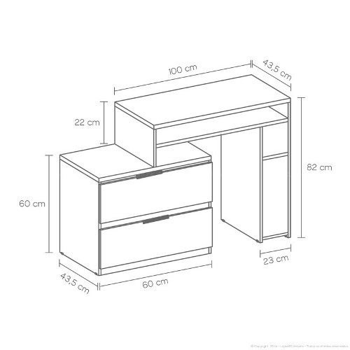 Escritorio oficina medidas hg for Medidas de un escritorio