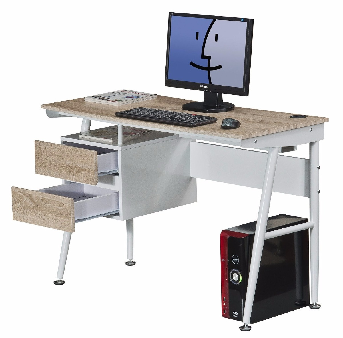 Escritorio clasico oficina computadora mueble madera acero - Modelos de escritorios de madera ...