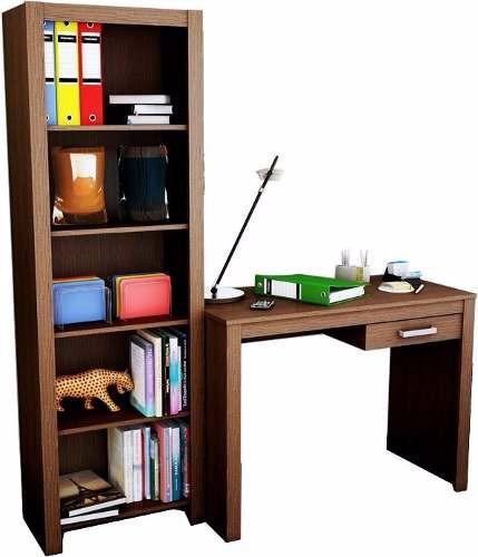 escritorio con cajón + biblioteca 5 espacios combo kromo-s