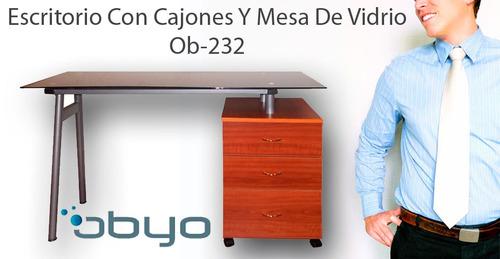 escritorio con cajones y mesa de vidrio obyo ob-232