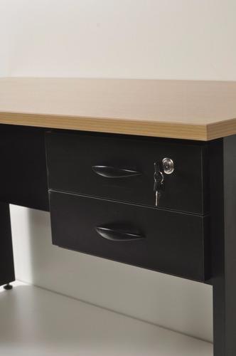 escritorio con dos cajones en melamina, tapa con cantos abs.