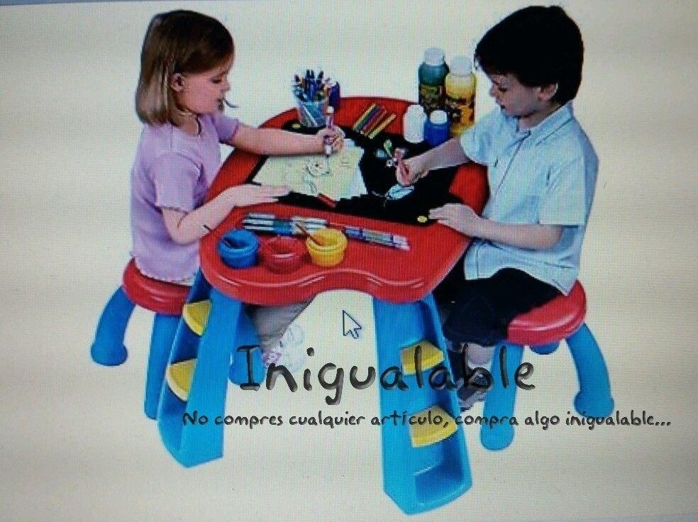 Escritorio con mesa y sillas para ni os crayola 2 350 for Sillas para 2 ninos diferente edad