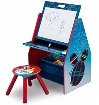 escritorio de caballete, taburete y organizador juguetes