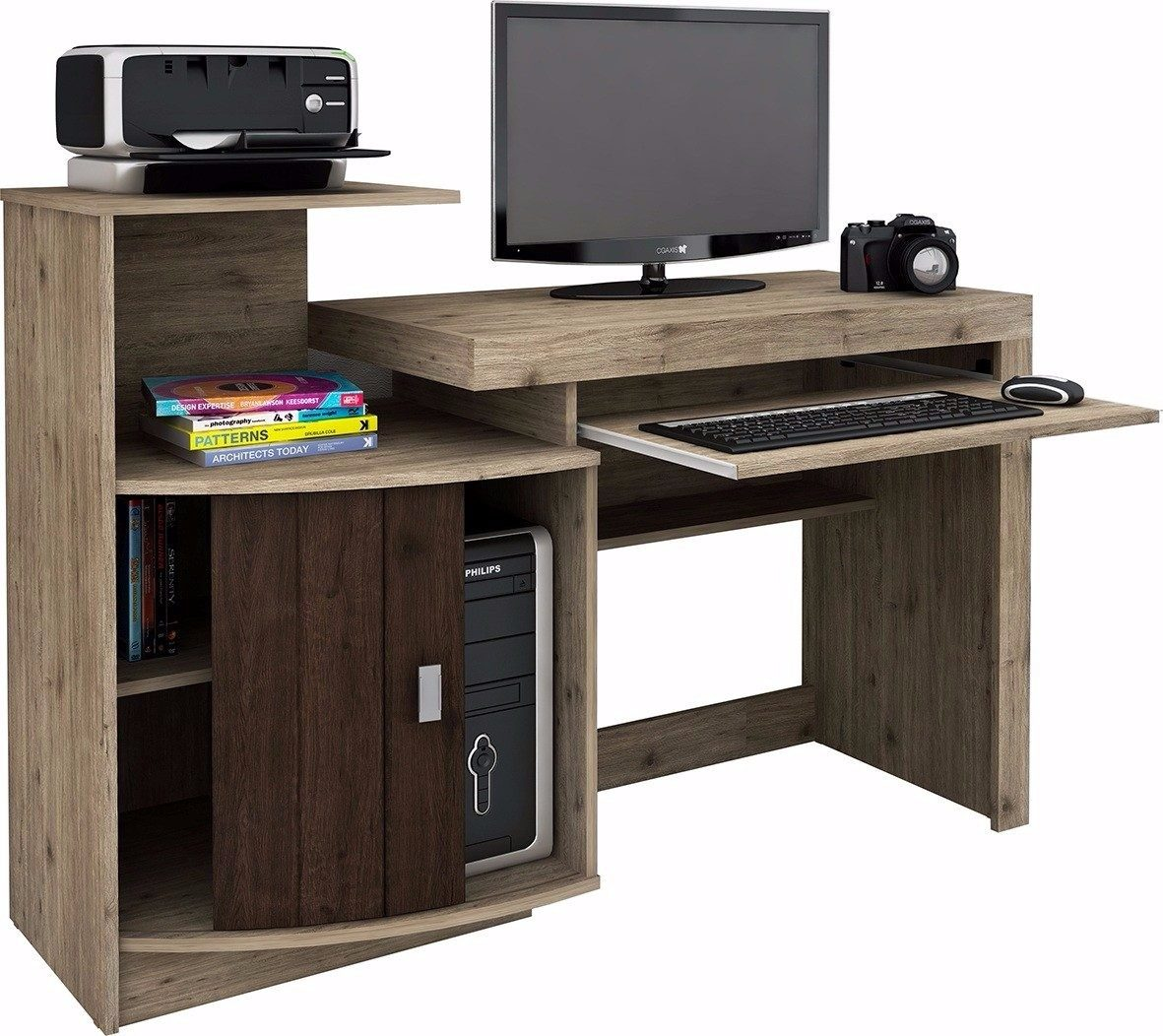escritorio de computadora con alzada y porta teclado mesa pc