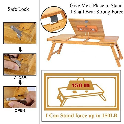 escritorio de laptop nnewvante grande de bambú ajustable
