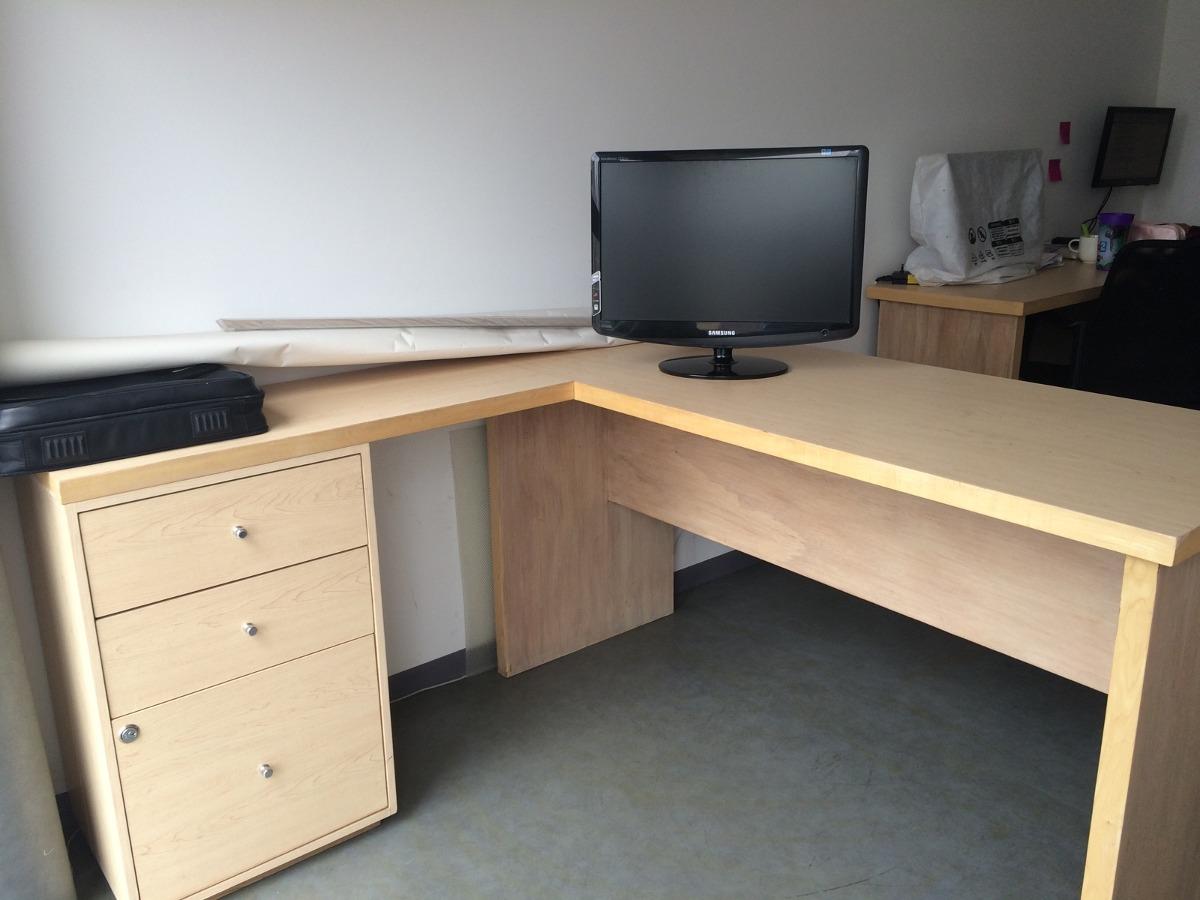 escritorio de madera en l para oficina 2 en