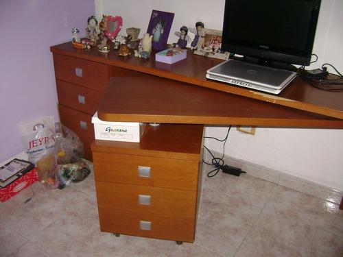escritorio de madera maciza con doble gavetero plegable