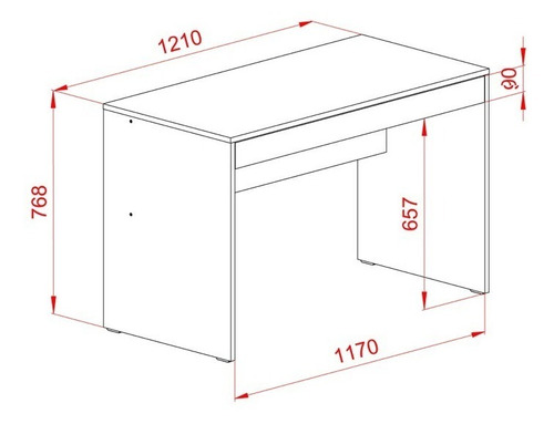 escritorio de melamina para oficina o dormitorio 1 cajon 120 cm ancho mosconi 720