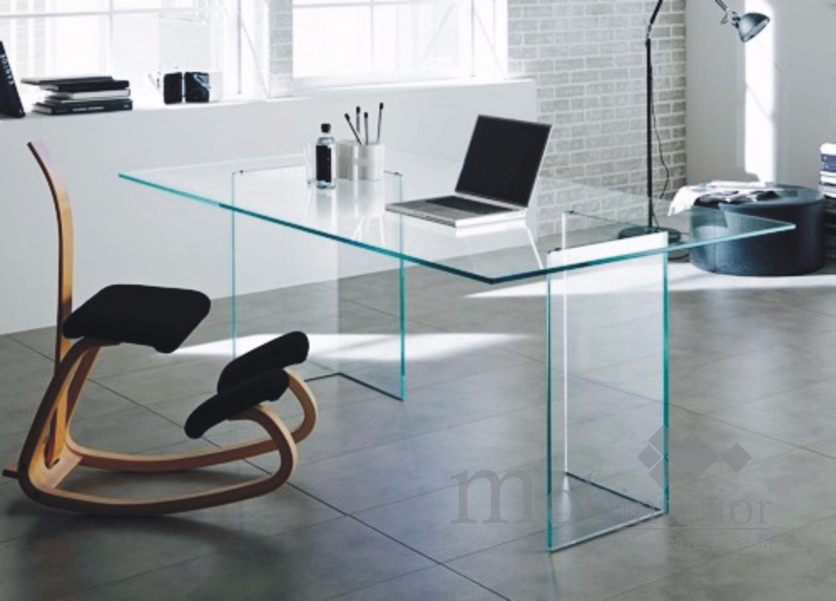 Escritorio de oficina de cristal templado silla de - Mesas escritorio de cristal ...