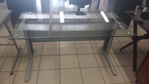 escritorio de oficina en vidrio transparente de 140 cm