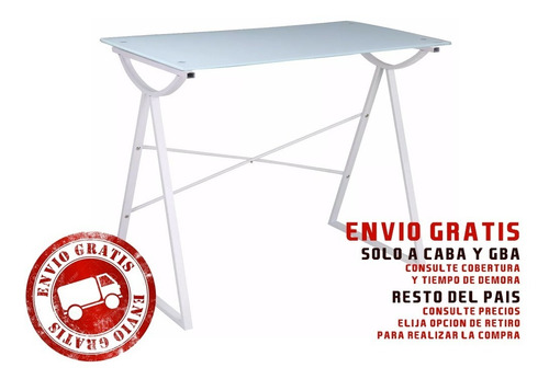 escritorio de vidrio y metal color minimalista