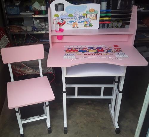 escritorio didactico para niña color rosa