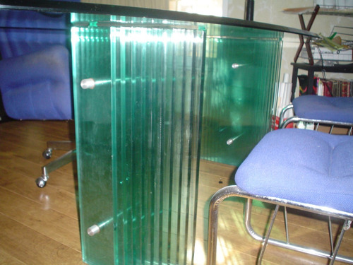 escritorio ejecutivo elegante, vidrio, cristal de 19mm