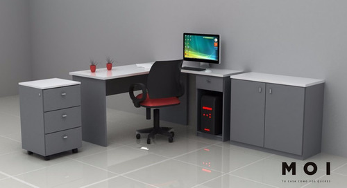 escritorio en l  + cajonera movil + apoyo 2 puertas