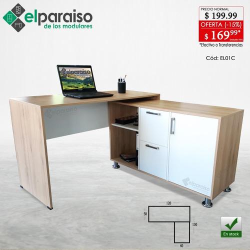 escritorio en l cajones y puertas oficina o estudiantil