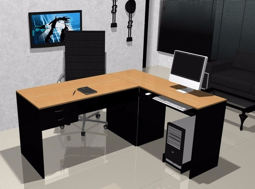 escritorio en l mesa de pc lado b haya y negro 004-fan  -022