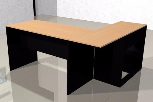 escritorio en l mesa  pc lado a, haya y negro 004-fan  -021