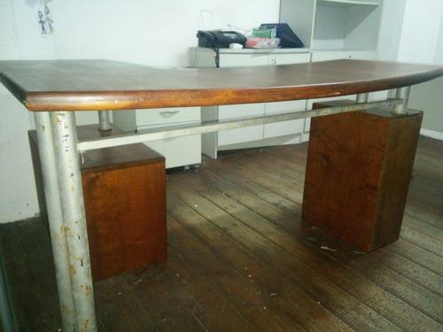 escritorio esquinero en l lapacho hierro no mdf