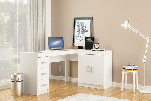 escritorio esquinero mesa de pc melamina 3 cajones  2250