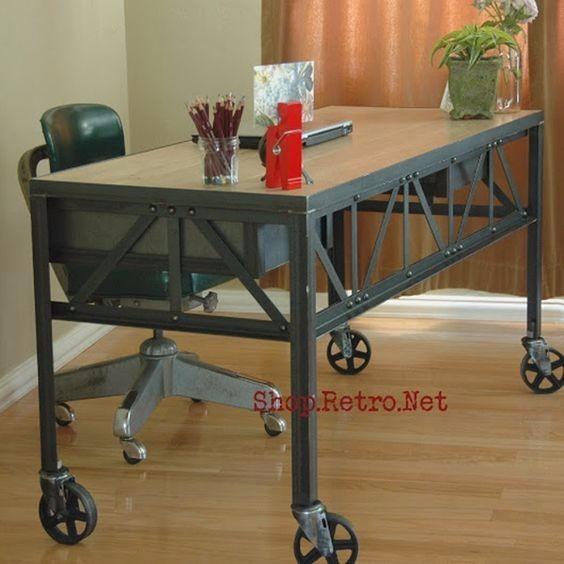escritorio estilo industrial hierro y chapa
