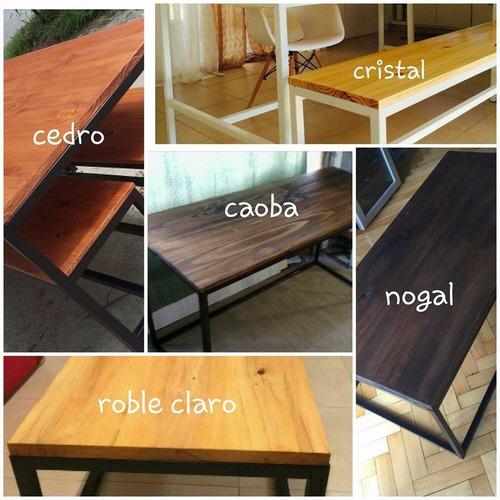 escritorio estilo industrial hierro y madera