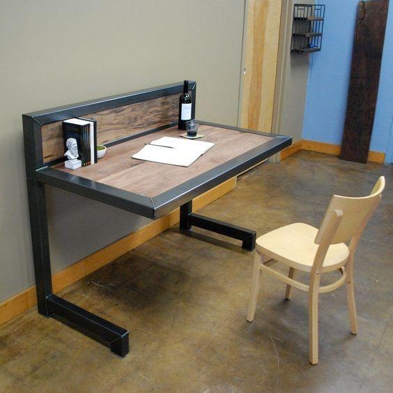 Escritorio estilo industrial para casa y oficina 2 en mercado libre for Muebles de oficina estilo minimalista
