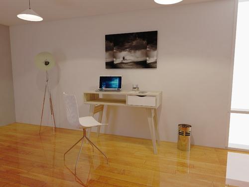 escritorio estilo nordico escandinavo 1 cajon laqueado 1,00m