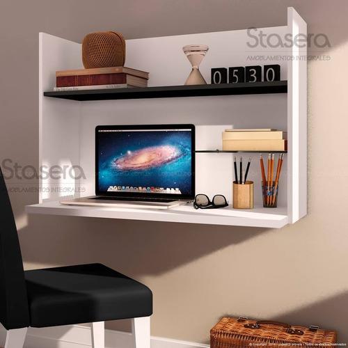 escritorio flotante - estante - panel - melamina - moderno