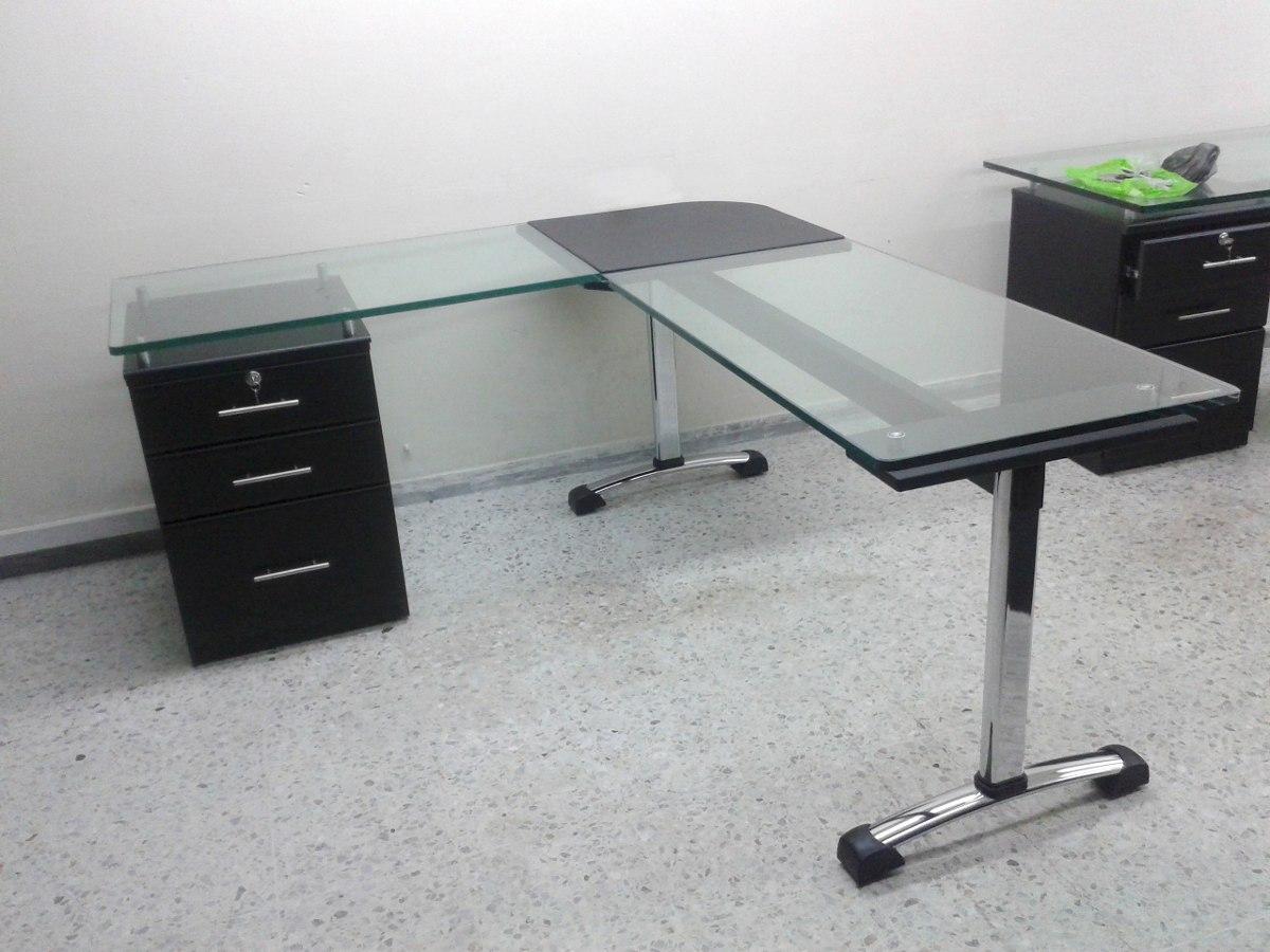Escritorio gerencial en l vidrio 19mm de - Protector escritorio ...