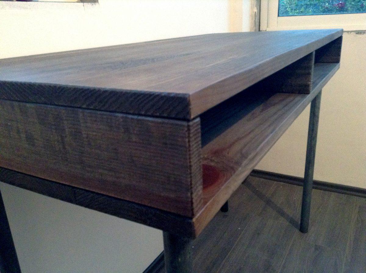 Escritorio industrial vintage mesa de madera tubo reciclado 3 en mercado libre - Mesa madera industrial ...