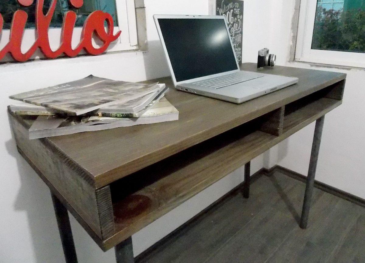 Escritorio industrial vintage mesa de madera tubo for Mesas de madera para esquinas
