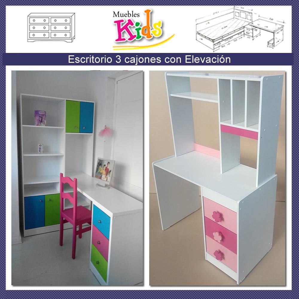 Escritorio Infantil Niña Con Elevacion Modelo Renata - $ 149.000 ...
