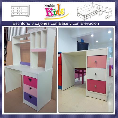 escritorio infantil niña con elevacion  modelo renata