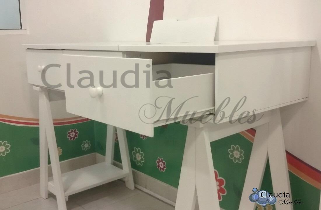 Escritorio Juvenil Blanco De Madera Laqueada Claudia Muebles  # Muebles Juramento Y Libertador