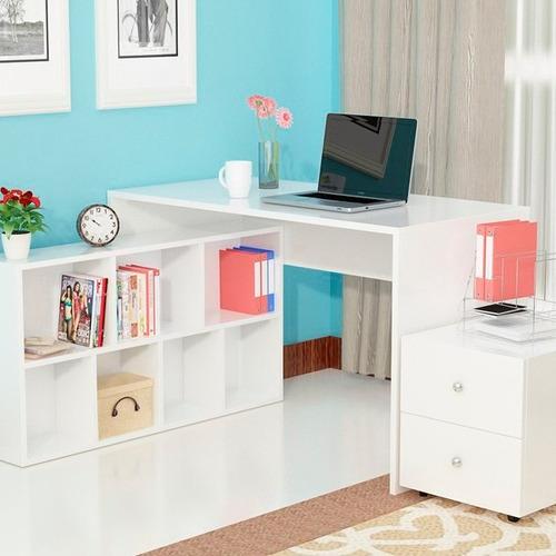 escritorio librero archivador y cajonera en melamina