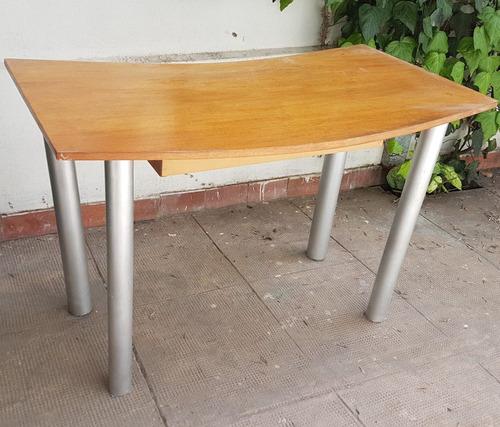 escritorio madera 120x60 con cajon patas metal oficina deco