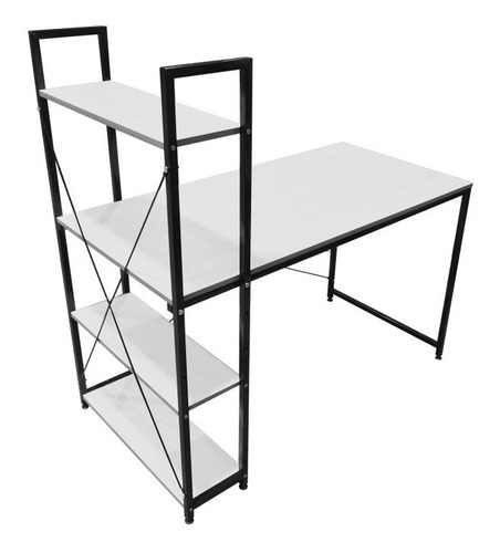 escritorio madera moderno minimalista con repisas 2 colores