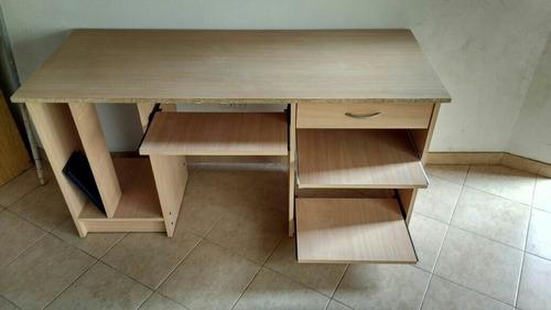 escritorio melamina color haya, cajón, estante p/ impresora