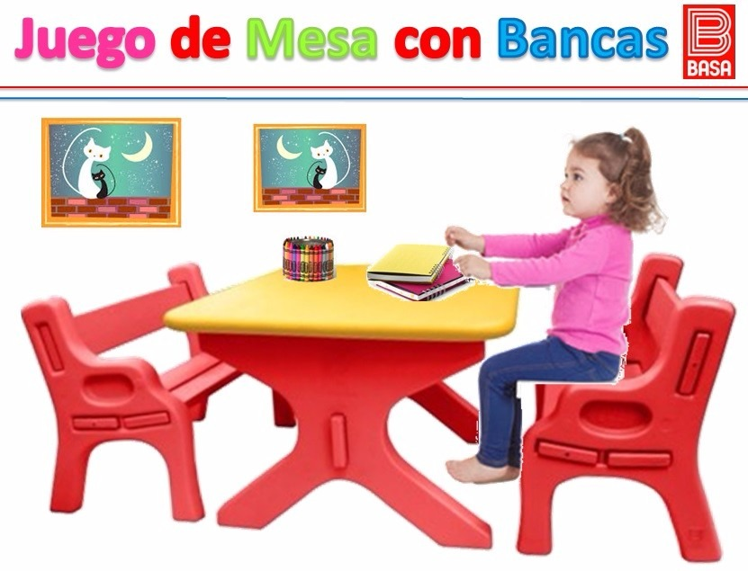 Escritorio mesa 2 bancas para ni os de colores basa s - Mesas de colores para ninos ...
