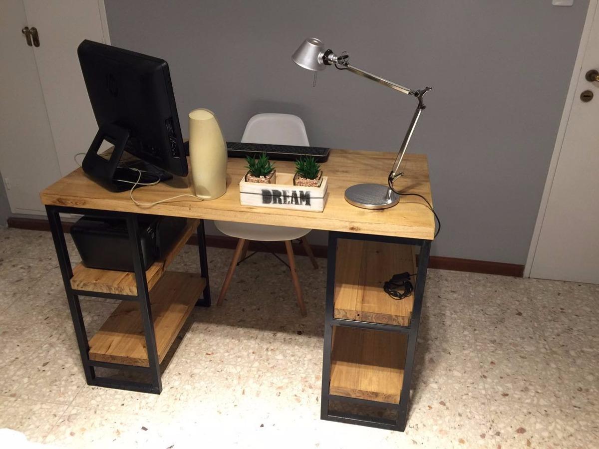 Escritorio Mesa De Diseño Minimalista Hierro Madera 30mm - $ 3.490 ...