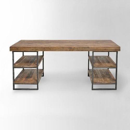escritorio mesa de diseo minimalista hierro madera mm