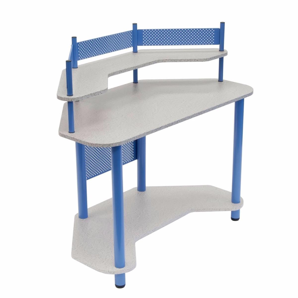 Escritorio mesa de trabajo esquinero madera y acero azul - Escritorio mesa de trabajo ...
