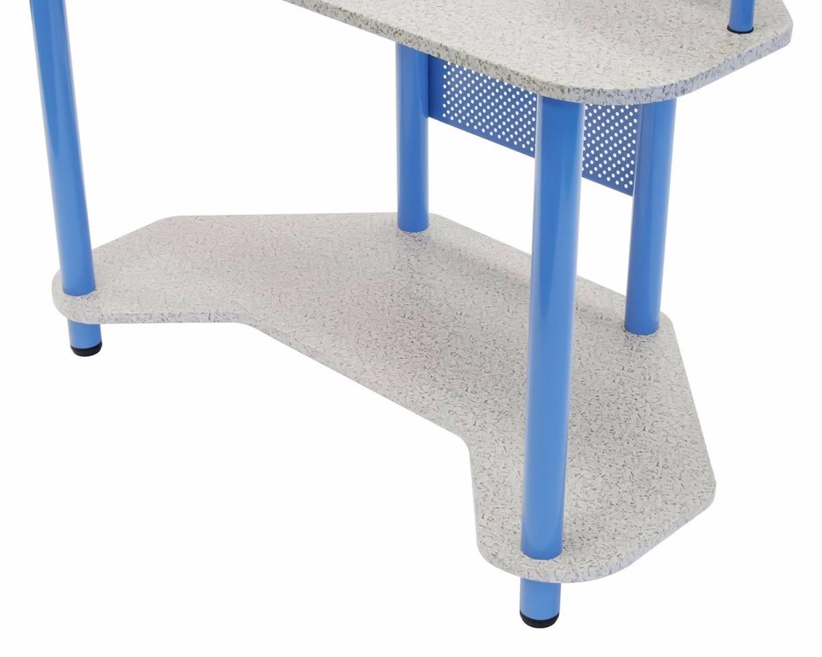 Escritorio mesa de trabajo esquinero madera y acero azul for Madera para mesa de trabajo