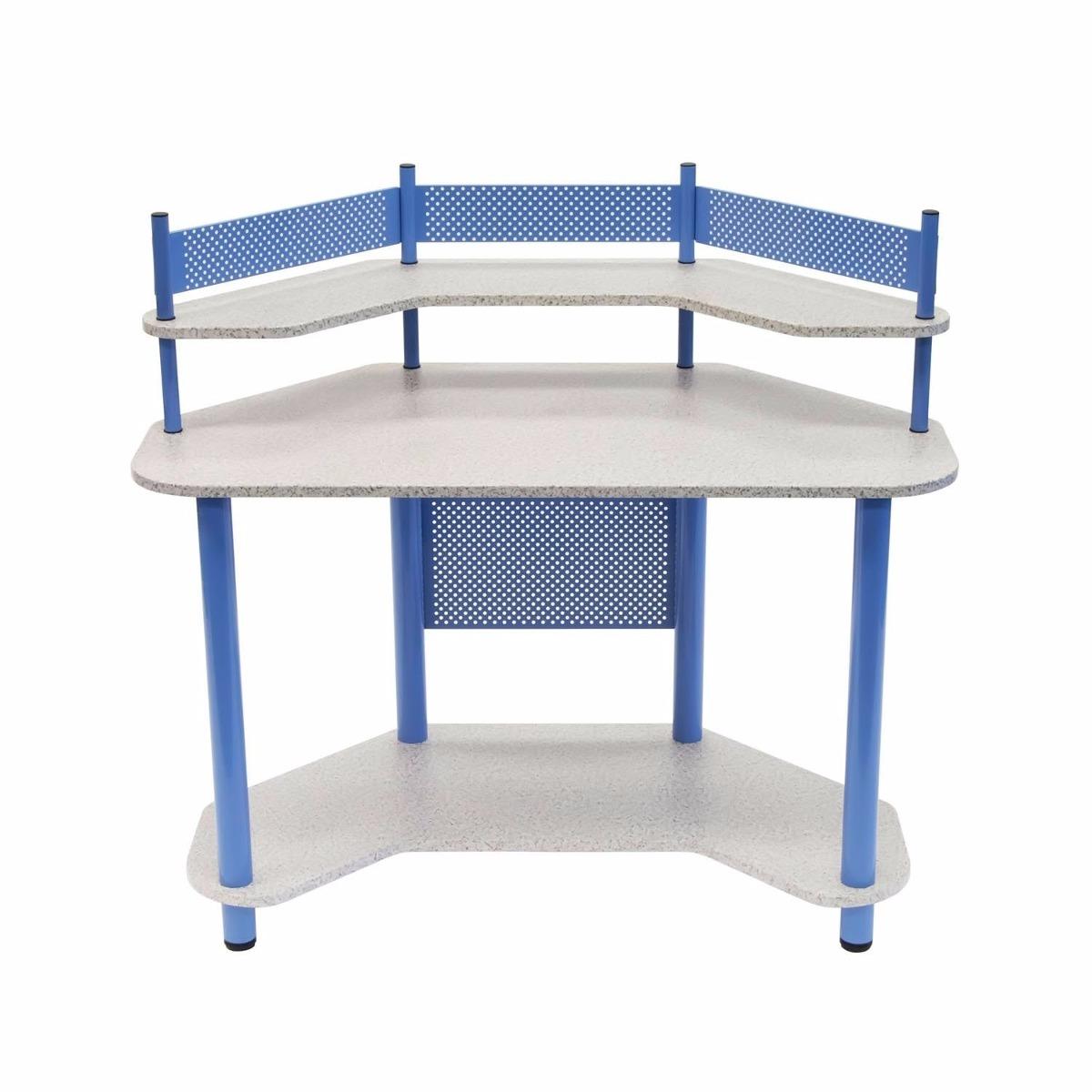 Escritorio mesa de trabajo esquinero madera y acero azul for Juego de mesa esquinero
