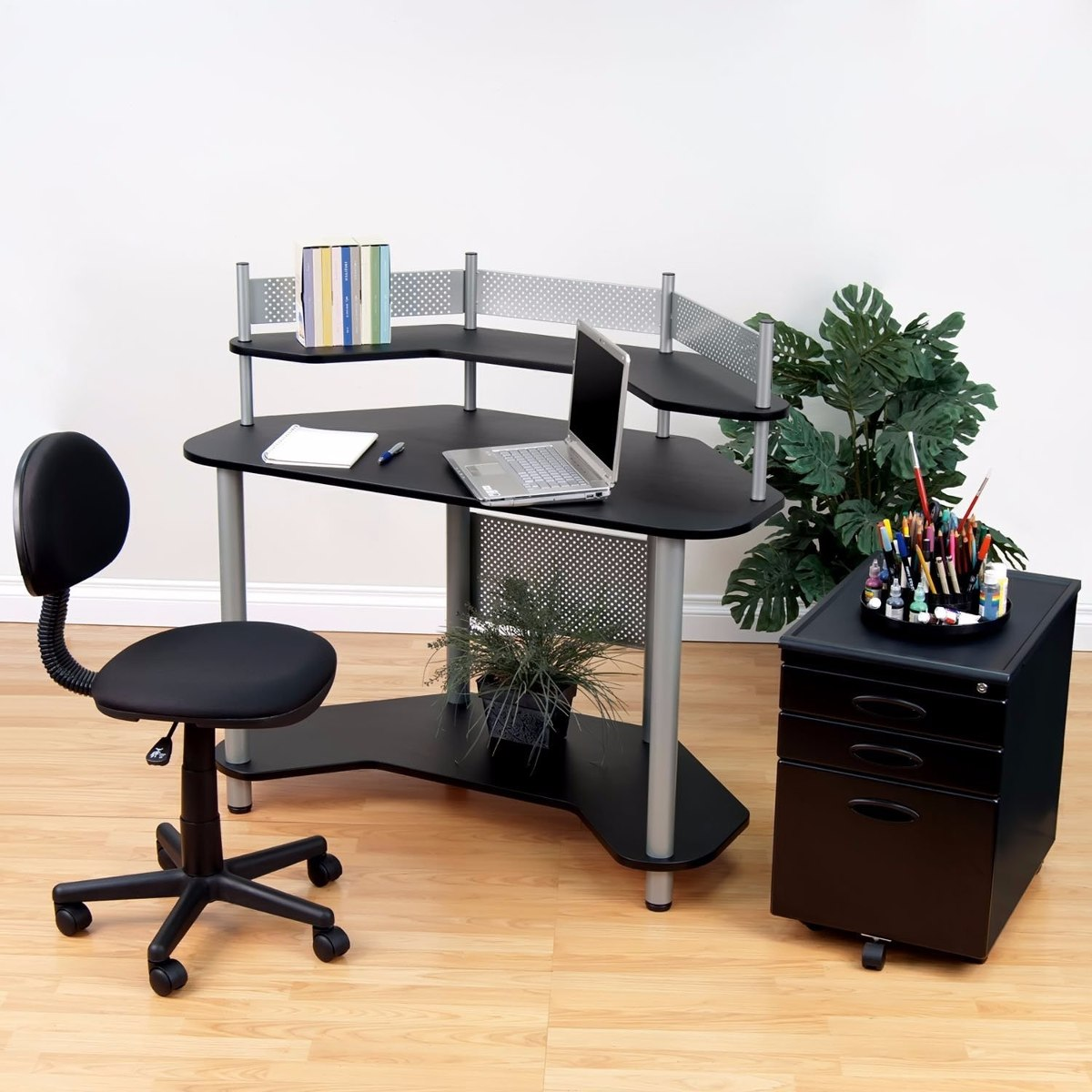 Escritorio mesa de trabajo esquinero madera y metal negro - Escritorio de trabajo ...