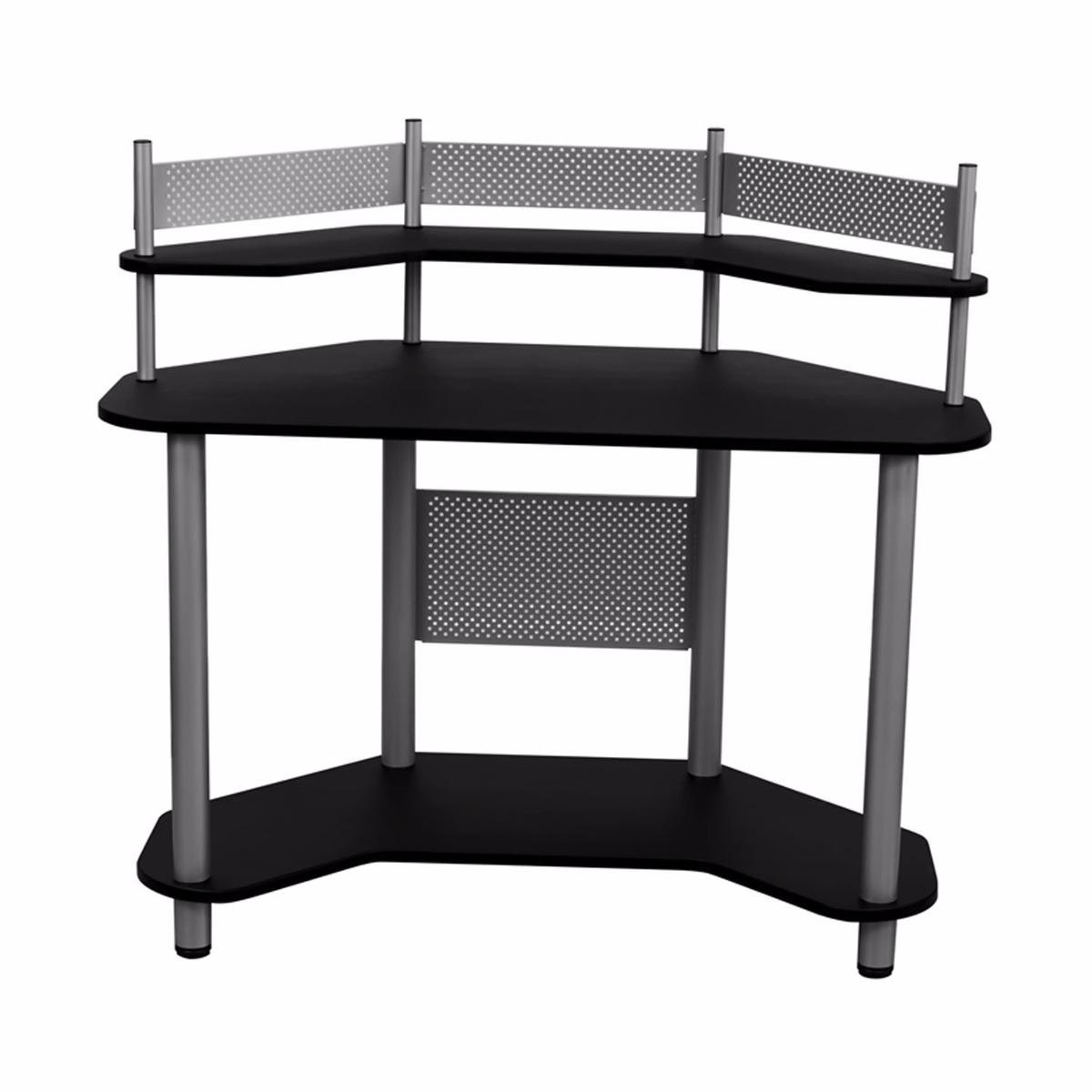Escritorio mesa de trabajo esquinero madera y metal negro for Mesa de esquinero