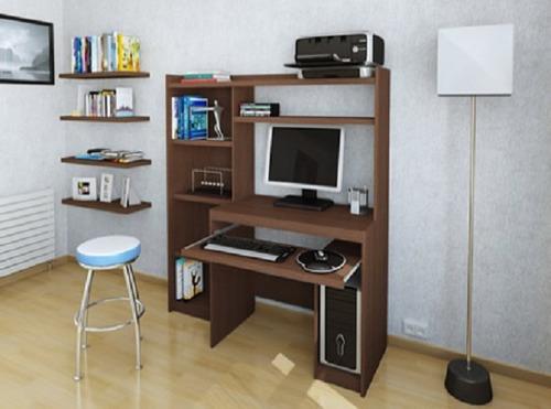 escritorio mesa para pc alzada y biblioteca r-11813 kromo-s