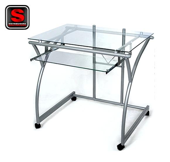 Escritorio mesa para pc de vidrio templado modelo dg for Modelos de mesas de vidrio